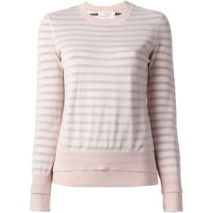 Tory Burch Naia Light Pink Sweater w Mesh Overlay